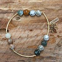 Gold plated agate stretch bracelet,
