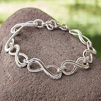 Sterling silver link bracelet, 'Infinite Maya Harmony' - Handcrafted Sterling Silver Bracelet