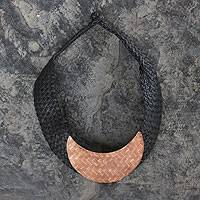 Leather and copper choker, 'New Moon' - Hand Braided Necklace with Copper