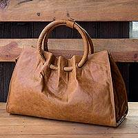 Leather shoulder bag, 'Honey Hoops' - Light Brown Leather Handbag