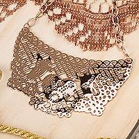 Rose gold plated choker, 'Lovebird Melody' - Ornate Mexican Rose Gold Plated Choker