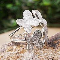 Sterling silver wrap ring, 'Butterfly Quartet' - Butterfly Wrap Ring