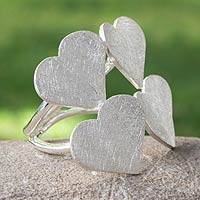 Sterling silver wrap ring, 'Heart Quartet' - Heart Wrap Ring