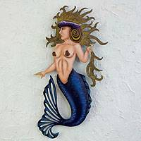 Steel wall sculpture, Conch Queen Mermaid - Handcrafted Steel Wall Art from Mexico
