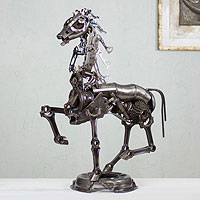Recycled auto parts sculpture, 'Rustic Trotting Horse' - Recycled Auto and Bike Parts Sculpture