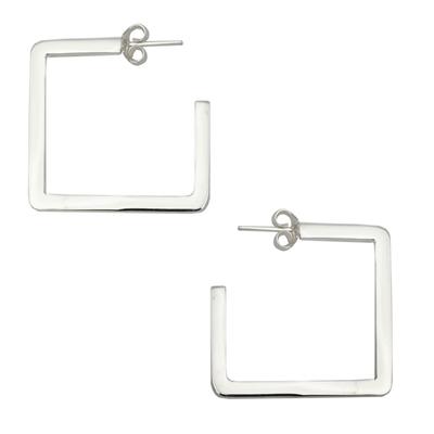 Sterling Square Half Hoop Earrings