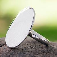 Sterling silver cocktail ring, 'Moonlight Glow' - Taxco Silver Cocktail Ring