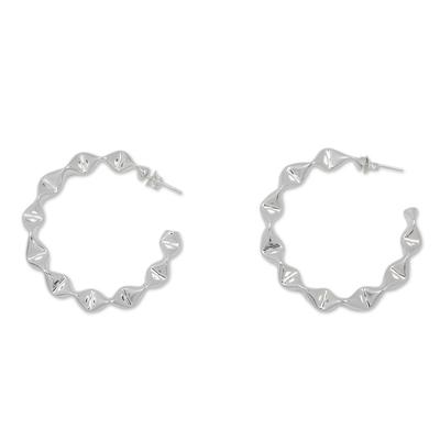 Ruffled Silver Half Hoop Earrings