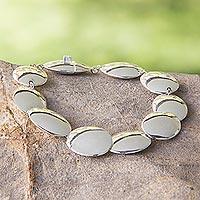 Sterling silver link bracelet, 'Moonlight Glow'