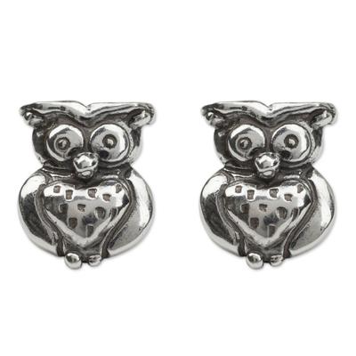 Silver Owl Button Earrings