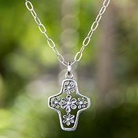 Sterling silver cross necklace, 'Blossoming Faith' - Tree of Life Style Silver Cross Necklace