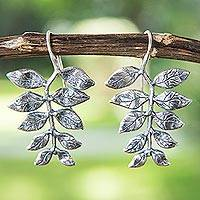 Sterling silver drop earrings, 'Leaf Motif' - Silver Leaf Motif Earrings