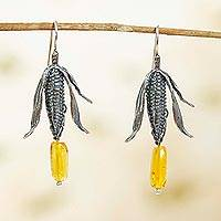 Featured review for Amber dangle earrings, Land of Maize