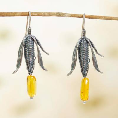 Amber dangle earrings, 'Land of Maize' - Sterling Silver and Natural Amber Mexican Earrings