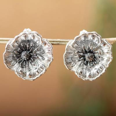Sterling silver button earrings, 'Amazing Poppies' - Fair Trade Floral Sterling Silver Earrings from Mexico