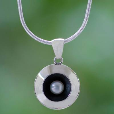 Cultured pearl pendant necklace, 'Moon Intrigue' - Taxco Silver Necklace with Cultured Pearl
