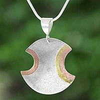 Sterling silver and copper pendant necklace, 'Ancient Eclipse' - Taxco Silver Necklace with Copper and Brass