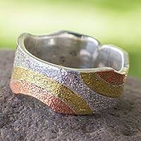 Sterling silver and copper band ring, 'Rainbow' - Taxco Silver Ring with Copper and Brass