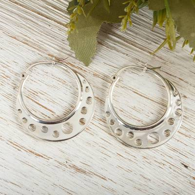Sterling silver hoop earrings, 'Moon Landing' - Taxco Silver Hoop Earrings