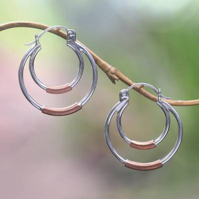 Sterling silver and copper hoop earrings, 'Taxco Orbit' - Taxco Silver Hoop Earrings with Copper
