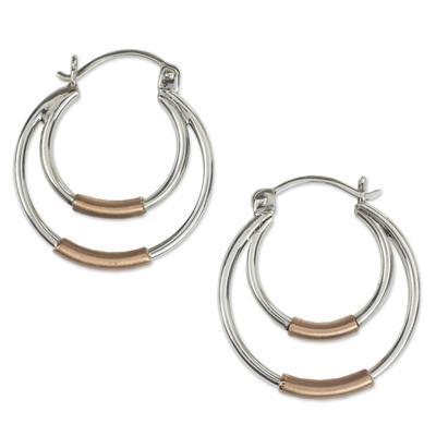 Taxco Silver Hoop Earrings with Copper