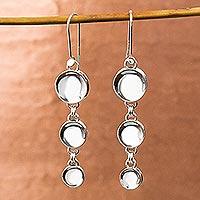 Sterling silver dangle earrings, 'Moonlight Trilogy'
