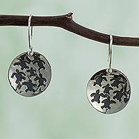 Sterling silver dangle earrings, Save the Turtles
