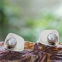 Cultured pearl button earrings, 'Luminosity' - Cultured Pearl Taxco Silver Earrings