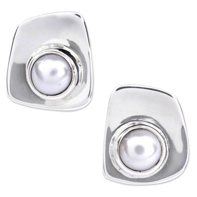 Cultured Pearl Taxco Silver Earrings