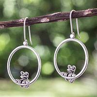 Sterling silver dangle earrings, 'Curious Frog' - Handmade Silver Frog Earrings from Taxco