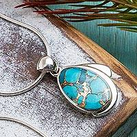 Sterling silver pendant necklace, 'Azure Allure' - Taxco Sterling Necklace with Composite Turquoise