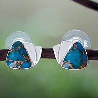 Sterling silver button earrings, 'Azure Beauty' - Taxco Sterling Earrings with Composite Turquoise