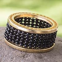 Gold plated band ring, 'Upsala Cycles' - Artisan Crafted Gold Plated Beaded Band Ring