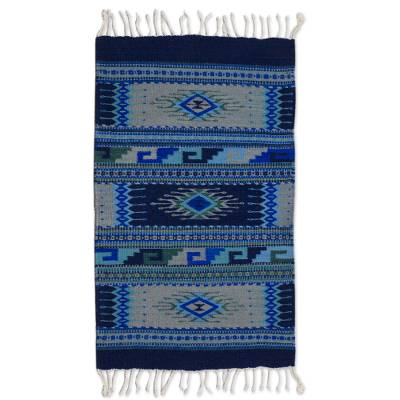 Zapotec wool rug, 'Paradise in Blue' (2x3.5) - Handwoven Zapotec Wool Accent Rug
