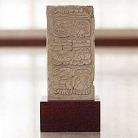 Sculpture, 'Palenque Stela' - Maya Hieroglyph Sculpture