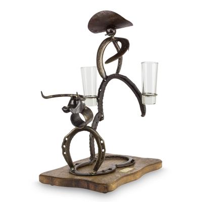 Upcycled Horseshoe Bottle Holder with 2 Shot Glasses
