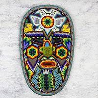 Huichol beadwork mask, 'Mother Eagle, Brother Deer' - Huichol Artisan Crafted Beadwork Mask