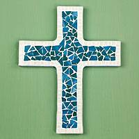 Glass mosaic cross, 'Heavenly' - Turquoise Glass Mosaic Handcrafted Wall Cross