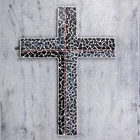 Glass mosaic cross, 'Spiritual' - Glass Mosaic Wall Cross in Black, Grey and Red