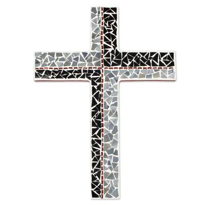 Glass Mosaic Wall Cross in Black, Grey and Red