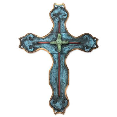 Artisan Crafted Blue Steel Embellished Wall Hanging Cross from Mexico