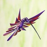 Alebrije sculpture, 'Purple Hummingbird' - Oaxacan Hummingbird Sculpture