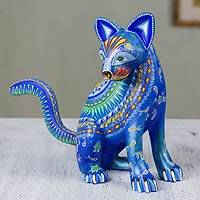 Alebrije sculpture, 'Cat of the Moon and Water' - Mexico Alebrije Mystical Cat Sculpture Oaxaca Folk Art