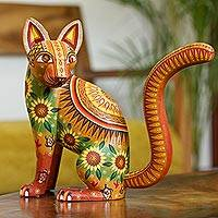 Alebrije sculpture, 'Cat of the Sun' - Mexico Oaxaca Folk Art Alebrije Mystical Cat Sculpture