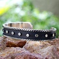 Sterling silver cuff bracelet, 'Domino' - Dark and Polished Taxco Sterling Silver Cuff Bracelet