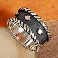 Sterling silver band ring, Domino - Modern Dark and Polished Taxco Silver Band Ring