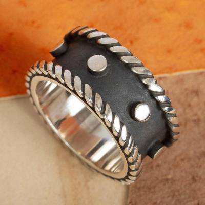 Sterling silver band ring, 'Domino' - Modern Dark and Polished Taxco Silver Band Ring