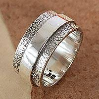 Sterling silver band ring, 'United As One' - Modern Handmade Textured Silver Ring from Mexico