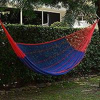 Cotton hammock, 'Puerto Vallarta' (double) - Blue Cotton Maya Hammock with Red Trim from Mexico