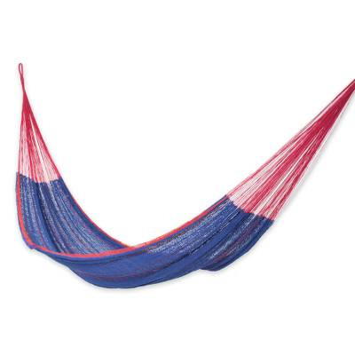 Blue Cotton Maya Hammock with Red Trim from Mexico